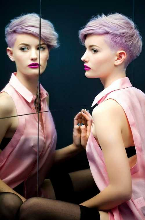 Undercut-hair-Cool-female-makeup-trend-color-pastel-violet-short-with-pastel-purple-and-matched-Lipstick
